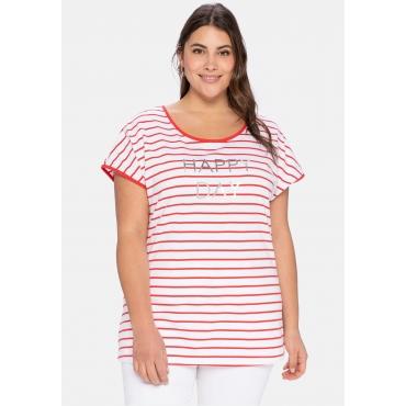 T-Shirt mit Ringeln und Statement-Foliendruck, karminrot-weiß, Gr.40/42-56/58