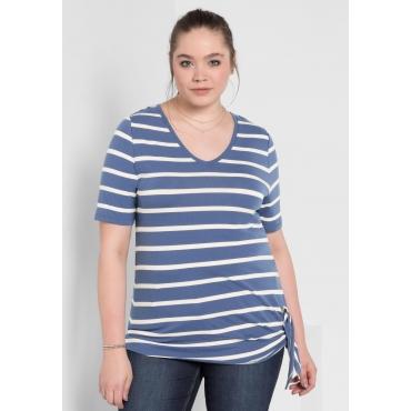 T-Shirt mit Ringeln und V-Ausschnitt, rauchblau gestreift, Gr.40/42-56/58