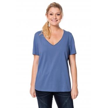 T-Shirt mit Rollkante am V-Ausschnitt, jeansblau, Gr.40/42-56/58