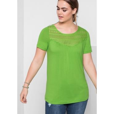T-Shirt mit Spitze, kiwi, Gr.40/42-56/58