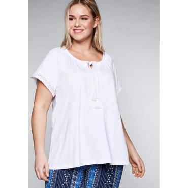 T-Shirt mit Spitzenapplikationen und Raglanärmel, weiß, Gr.44/46-56/58