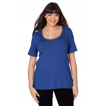 T-Shirt mit Spitzenbesatz und Kurzarm, royalblau, Gr.40/42-56/58