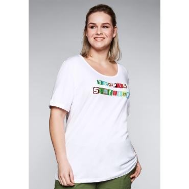 T-Shirt mit Stickerei aus Perlen und Pailletten, weiß, Gr.44/46-56/58