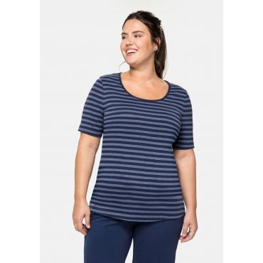 T-Shirt mit Streifen und Rundhalsausschnitt, indigo meliert-marine, Gr.40/42-56/58