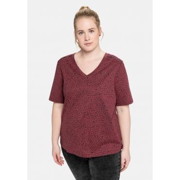 T-Shirt mit V-Ausschnitt und Alloverdruck, dunkelrosa, Gr.40/42-56/58