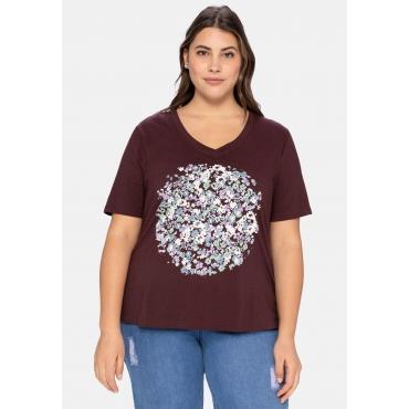 T-Shirt mit V-Ausschnitt und Blumendruck, burgund, Gr.40/42-56/58