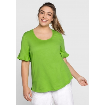 T-Shirt mit Volants, kiwi, Gr.44/46-56/58