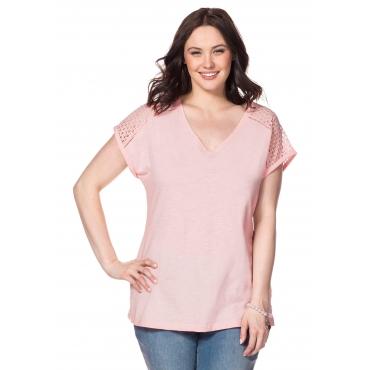 T-Shirt mit Webspitzeneinsatz und V-Ausschnitt, hellrosa, Gr.40/42-56/58