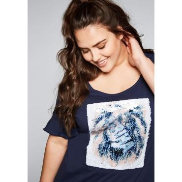 T-Shirt mit Wechseleffektpailletten, marine, Gr.44/46-56/58