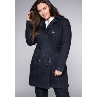 Trenchcoat in elastischer Denimqualität, dark blue Denim, Gr.44-58