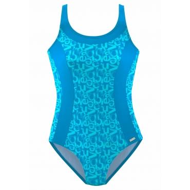 Badeanzug, blau bedruckt, Gr.44-54