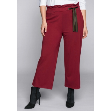 Weite 7/8-Hose mit hohem Bund im Paperbag-Stil, rubinrot, Gr.44-58