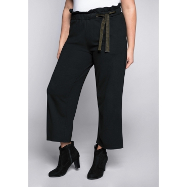 Weite 7/8-Hose mit hohem Bund im Paperbag-Stil, schwarz, Gr.44-58