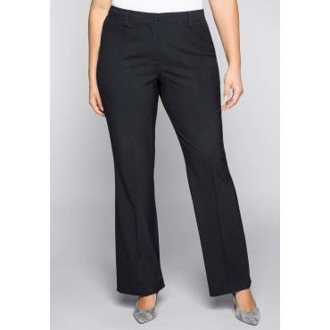 Weite Bootcut-Stretch-Hose mit elastischem Bund, dunkelblau, Gr.44-58
