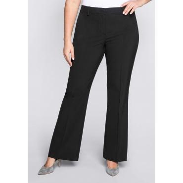 Weite Bootcut-Stretch-Hose mit elastischem Bund, schwarz, Gr.44-58