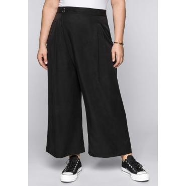 Weite Hose im Culotte-Stil mit Gummibund, schwarz, Gr.44-58