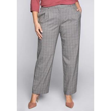 Weite Hose im Glencheck-Muster mit Gummizugbund, schwarz-weiß, Gr.44-58
