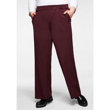 Weite Hose mit asymmetrischem Verschluss, burgund, Gr.40-58