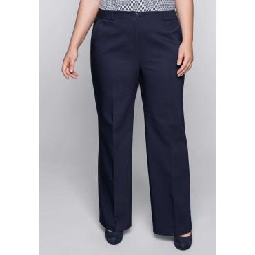 Weite Hose mit Bügelfalten und elastischem Bund, marine, Gr.44-58