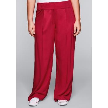 Weite Hose mit Bundfalte und Gummizug, rot, Gr.44-58