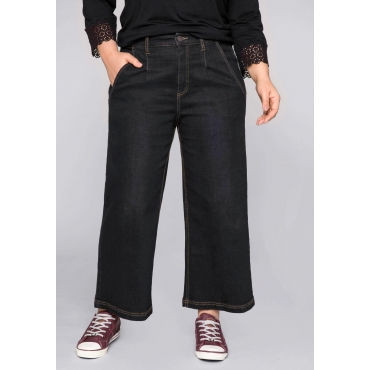 Weite Jeans-Culotte in 7/8-Länge, black Denim, Gr.44-58