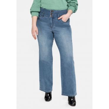 Weite Jeans mit High-Waist-Bund und Bügelfalte, blue used Denim, Gr.40-58