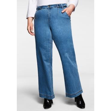 Weite Jeans mit Kontrastnaht und Riegeln am Bund, blue Denim, Gr.40-58