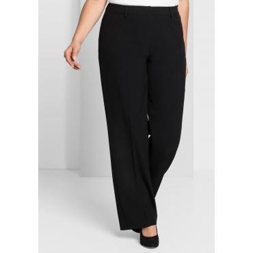 Weite Stretch-Hose mit Permanent-Bügelfalte, schwarz, Gr.44-58