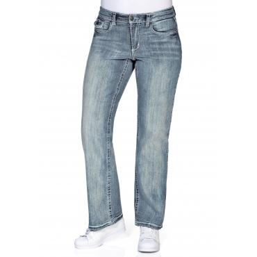Weite Stretch-Jeans mit Kontrastnähten, light blue Denim, Gr.21-104
