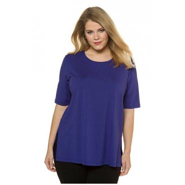 Große Größen 150 Damen  T-Shirt, Seitenschlitze, Rundhals, Halbarm, Blau, Gr. 42/44,46/48,50/52,54/56,58/60,62/64