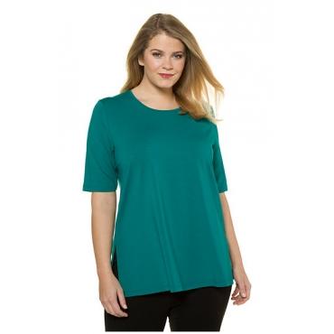 Ulla Popken Damen  T-Shirt, Seitenschlitze, Rundhals, Elasthan, selection, dunkelgrün, Gr. 58/60, Mode in großen Größen