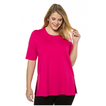 Ulla Popken Damen  T-Shirt, Seitenschlitze, Elasthan, selection, pink, Gr. 58/60, Mode in großen Größen