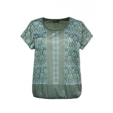 Ulla Popken Damen  T-Shirt, elastischer Saum, Oversized, Mustermix, thymian, Gr. 58/60, Mode in großen Größen