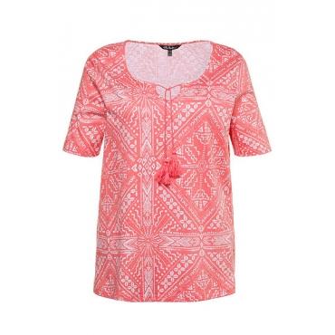 Ulla Popken Damen  T-Shirt, Ornamentmuster, Classic, Quastenband, Flammjersey, pfirsich, Gr. 54/56, Mode in großen Größen