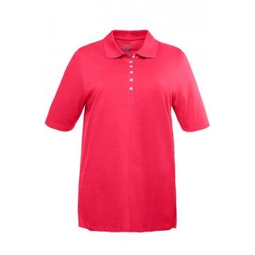 Große Größen 350 Damen  Poloshirt, Regular, Samtband-Knopfleiste, Pikeequalität, 100% Baumwolle, flamingopink, Gr. 42/44,46/48,50/52,54/56,58/60,62/64