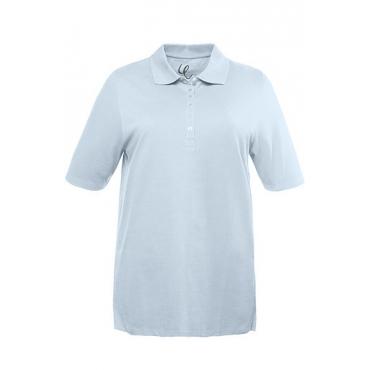 Ulla Popken Damen  Poloshirt, Samtband-Knopfleiste, Regular, Pikeequalität, 100% Baumwolle, himmelblauer topas, Gr. 50/52, Mode in großen Größen