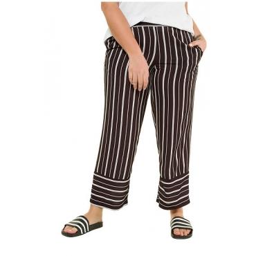 Studio Untold Damen  Hose, Streifen, Marleneform, Komfortbund, schwarz, Gr. 52, Mode in großen Größen