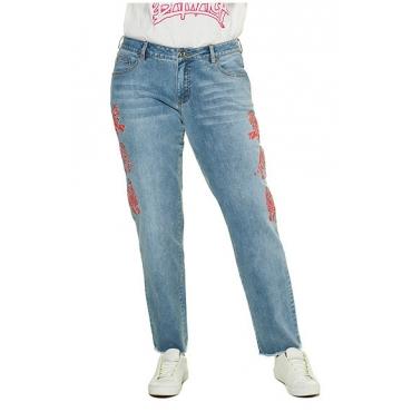Studio Untold Damen  Jeans, Boyfriend-Fit, Fransensaum, 5-Pocket, blue denim, Gr. 52, Mode in großen Größen