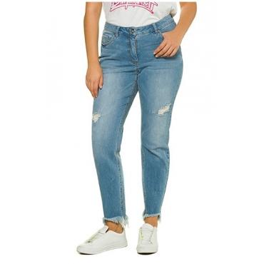 Studio Untold Damen  Jeans, Skinny, destroyed, Fransensaum, 5-Pocket, blue denim, Gr. 48, Mode in großen Größen