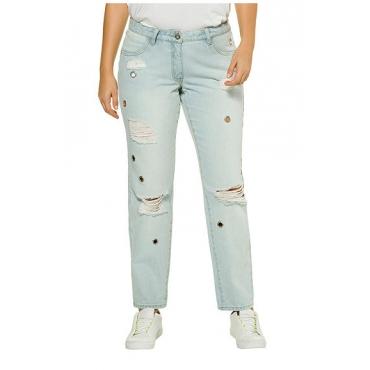 Studio Untold Damen  Jeans, Straight Cut, Zier-Ösen, destroyed, 4-Pocket, light blue, Gr. 54, Mode in großen Größen