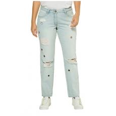 Große Größen Studio Untold Damen  Jeans, Straight Cut, Zier-Ösen, destroyed, 4-Pocket, Blau, Gr. 42,44,46,48,50,52,54