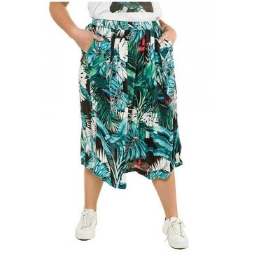 Ulla Popken Damen  Rock, Dschungelprint, Bund hinten mit Zipper, mehrfarbig, Gr. 54, Mode in großen Größen