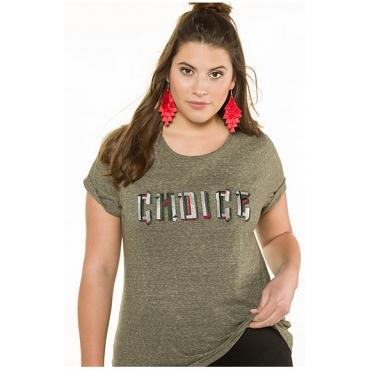 Studio Untold Damen  Shirt, CHOICE-Stickerei, Halbarm, olivgrün, Gr. 54/56, Mode in großen Größen