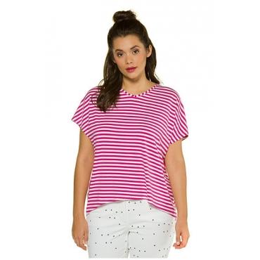 Studio Untold Damen  Shirt, Ringelmix, oversized, Halbarm, gerundeter Saum, azalee, Gr. 54/56, Mode in großen Größen
