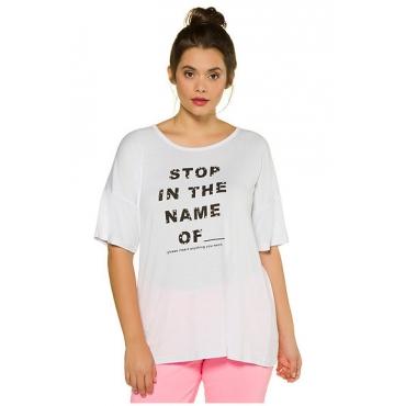 Studio Untold Damen  Shirt, STOP...-Statement, oversized, Studio Untold, weiß, Gr. 46/48, Mode in großen Größen