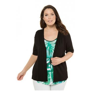 Ulla Popken Damen  2-in-1-Shirt, Dschungel-Design, Classic, Ziernieten, schwarz, Gr. 58/60, Mode in großen Größen