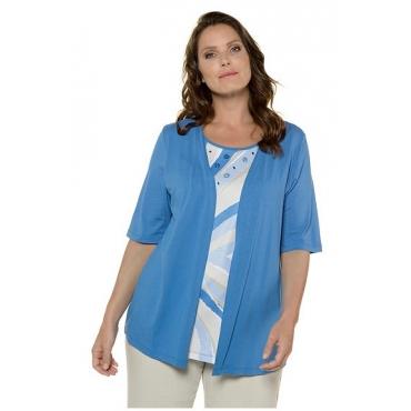 Ulla Popken Damen  2-in-1-Shirt, Grafikdesign, Classic, Glitzersteine, selection, blau, Gr. 58/60, Mode in großen Größen