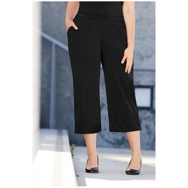 Ulla Popken Damen  7/8-Hose, Culotte, weites Bein, Elastikbund, Jersey, schwarz, Gr. 58/60, Mode in großen Größen