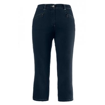 Ulla Popken Damen  7/8 Jeans Mony, gerade Form, Zippertaschen, querelastisch, dark blue, Gr. 60, Mode in großen Größen