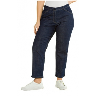 Ulla Popken Damen  7/8-Jeans, Straight Fit, Stretchdenim, gerades Bein, PURE, darkblue, Gr. 60, Mode in großen Größen